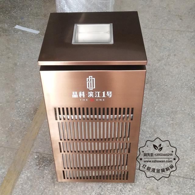 电镀玫瑰金镂空室内方形不锈钢垃圾桶图片001