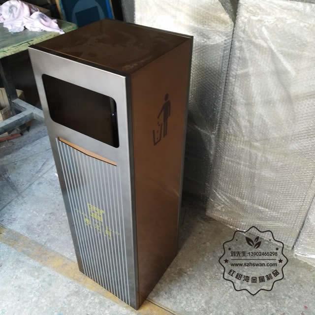 商业电镀室内方形不锈钢果皮箱图片002