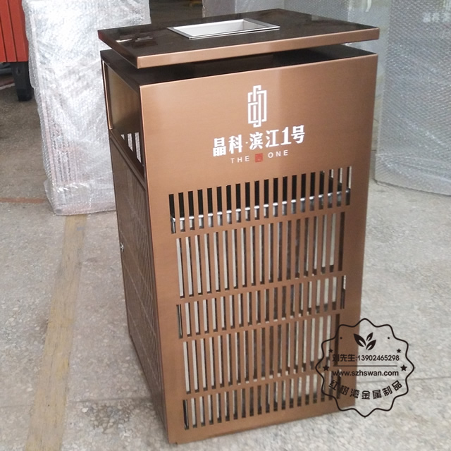 电镀玫瑰金镂空室内方形不锈钢垃圾桶图片003