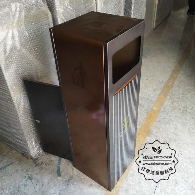 商业电镀室内方形不锈钢果皮箱图片003