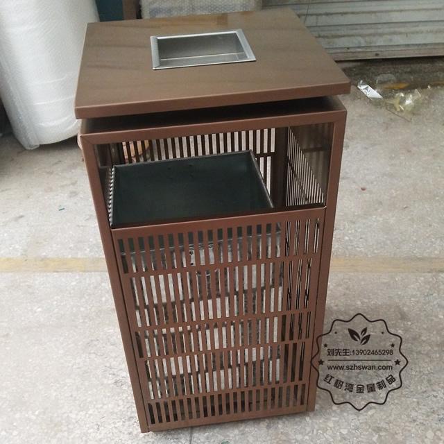 电镀玫瑰金镂空室内方形不锈钢垃圾桶图片004