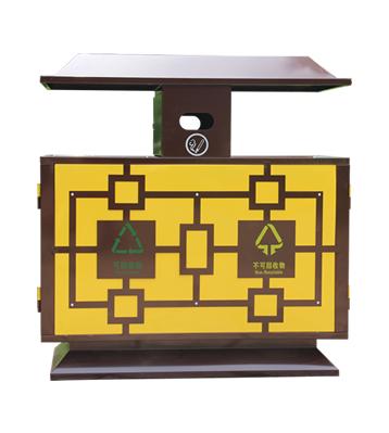 景区物业户外冷轧钢分类钢制垃圾箱主图
