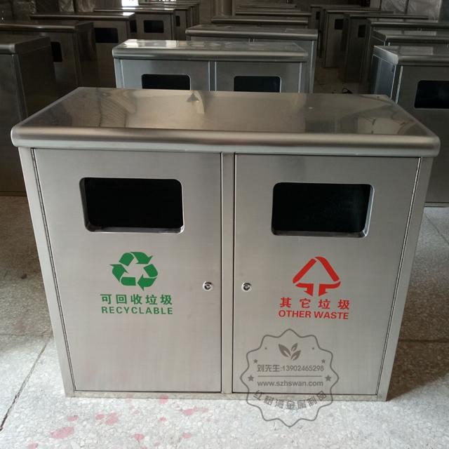 校园简洁方形户外不锈钢垃圾箱图片001