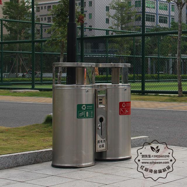 圆柱形户外双分类不锈钢垃圾桶图片002