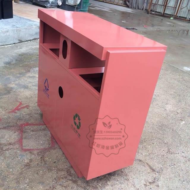 喷塑户外双分类不锈钢垃圾桶图片001