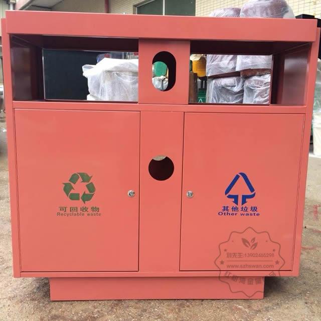 喷塑户外双分类不锈钢垃圾桶图片002