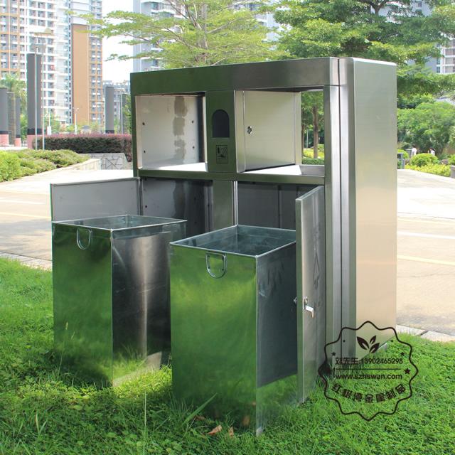 街道小区学校户外分类不锈钢垃圾箱图片003