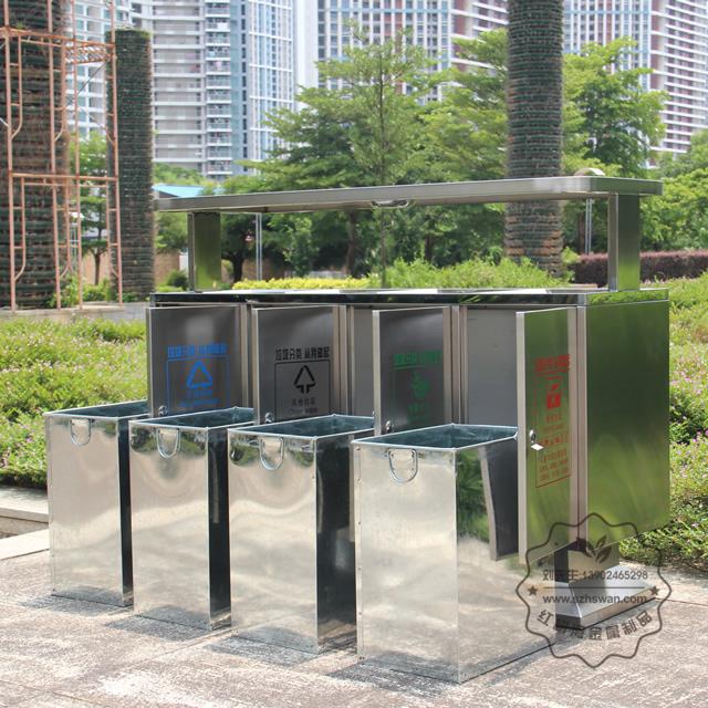 市政户外四分类不锈钢垃圾箱图片004