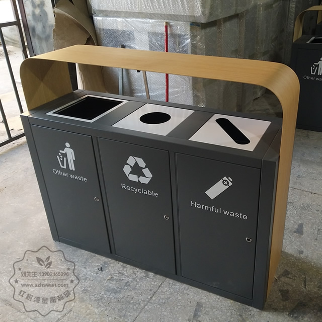 高档大号三分类不锈钢垃圾桶图片001
