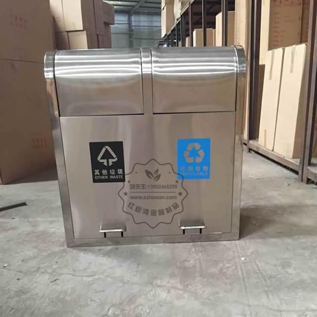 户外脚踏式不锈钢分类垃圾桶图片001