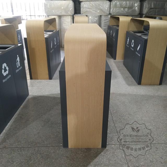 高档大号三分类不锈钢垃圾桶图片002