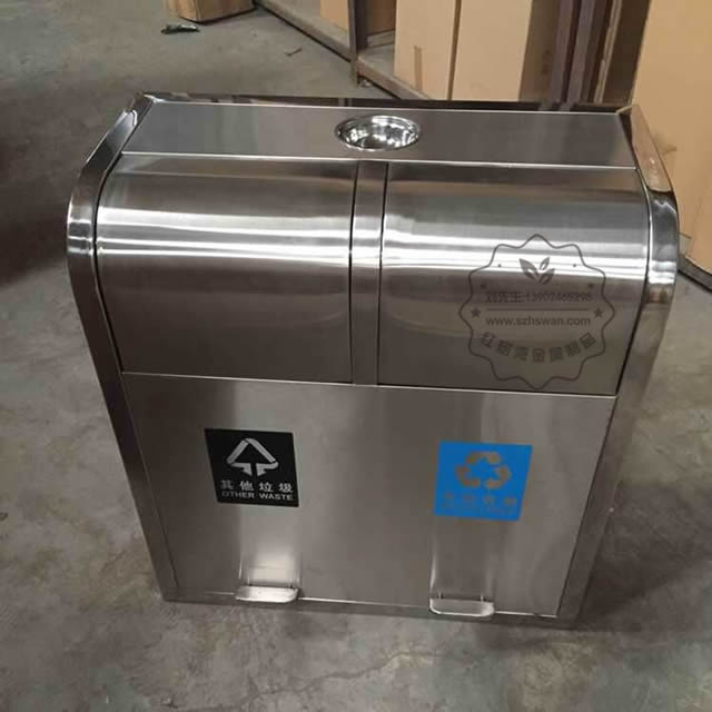 户外脚踏式不锈钢分类垃圾桶图片002