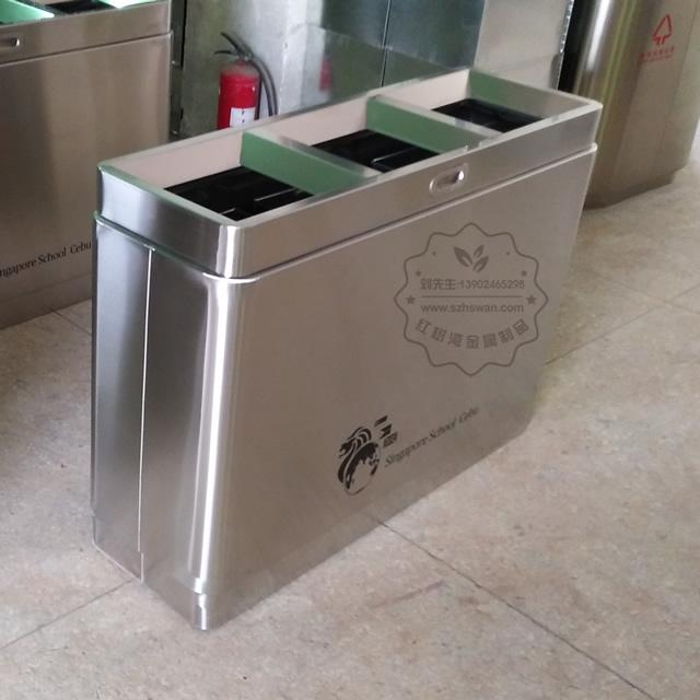 高档室内不锈钢分类垃圾桶图片003