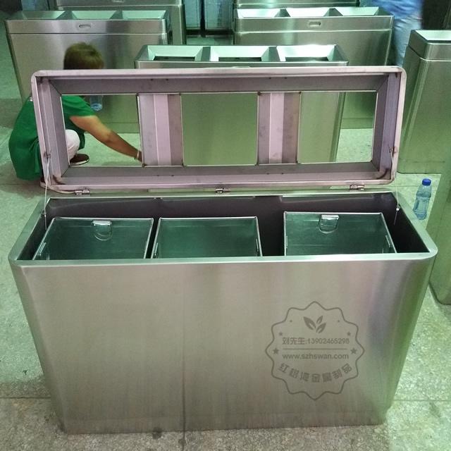高档室内不锈钢分类垃圾桶图片001