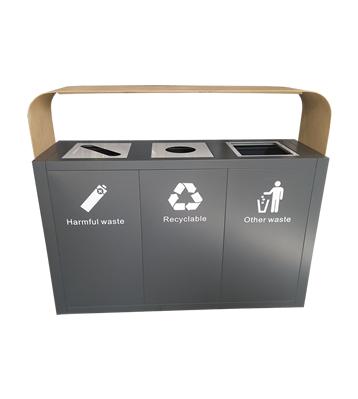 高档大号三分类不锈钢垃圾桶主图