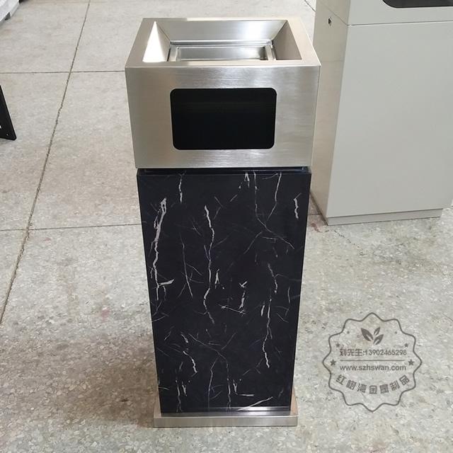 室内电镀仿大理石方形不锈钢垃圾桶图片001