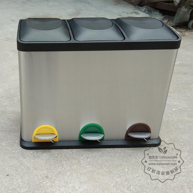 室内客房三分类不锈钢脚踏式垃圾桶图片001