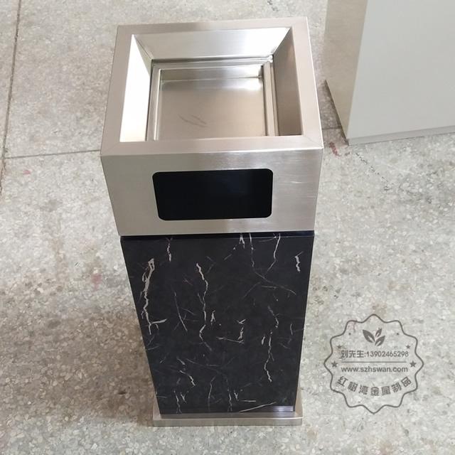 室内电镀仿大理石方形不锈钢垃圾桶图片002