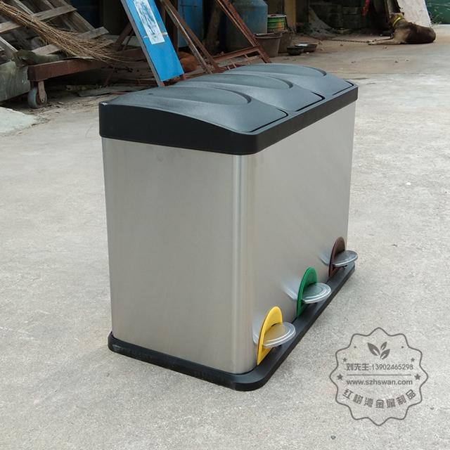 室内客房三分类不锈钢脚踏式垃圾桶图片002