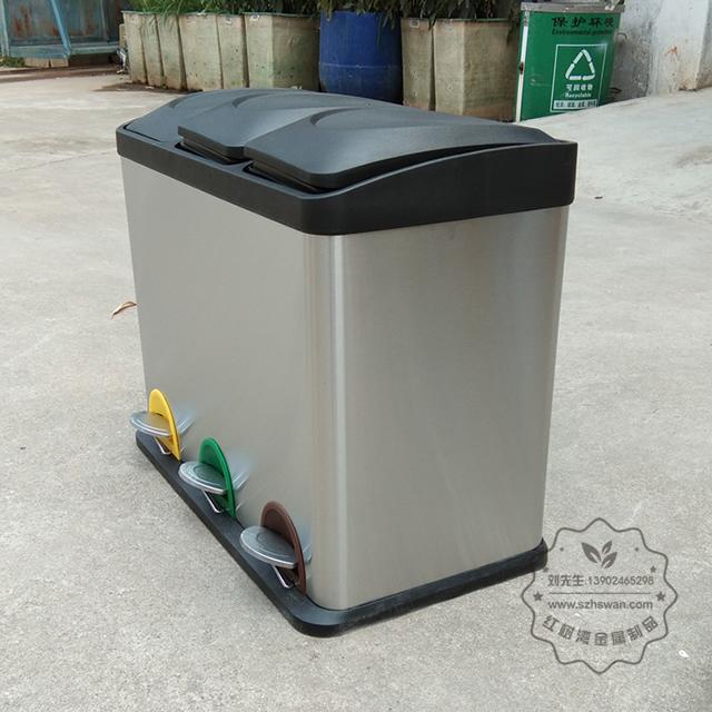 室内客房三分类不锈钢脚踏式垃圾桶图片003