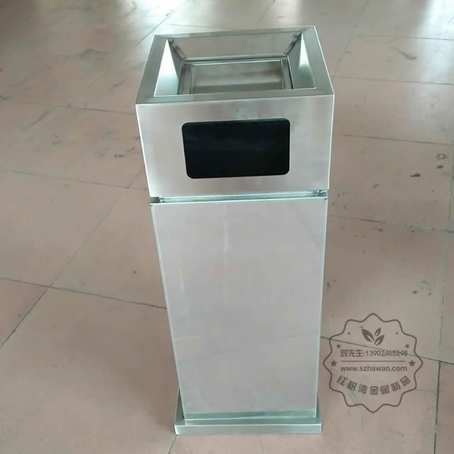 室内电镀仿大理石方形不锈钢垃圾桶图片004