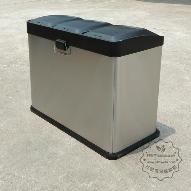 室内客房三分类不锈钢脚踏式垃圾桶图片004