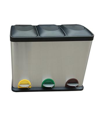 室内客房三分类不锈钢脚踏式垃圾桶主图