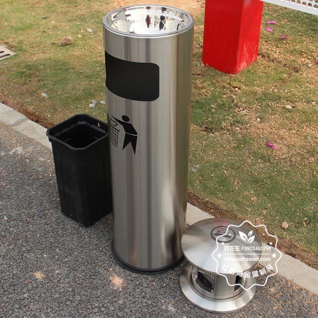 圆柱形不锈钢烟灰垃圾桶图片002