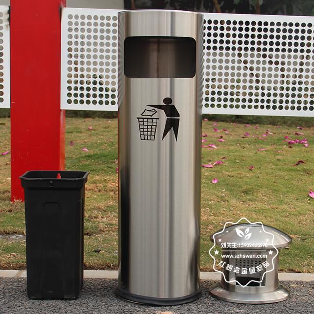 圆柱形不锈钢烟灰垃圾桶图片003