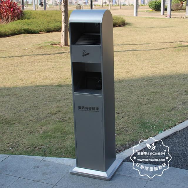 户外方形不锈钢灭烟柱垃圾桶图片004