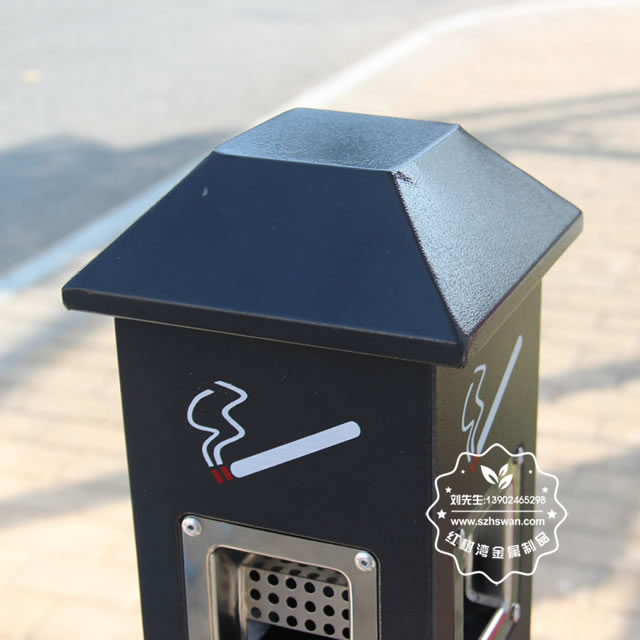 烤漆方形不锈钢烟蒂柱图片005