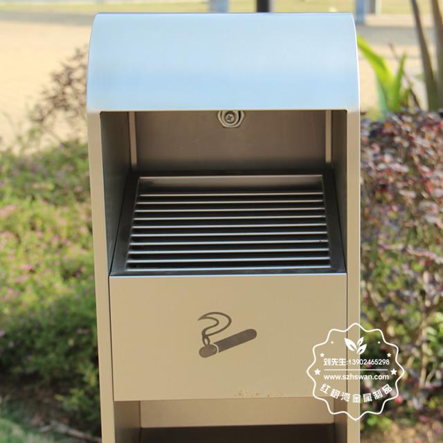 户外方形不锈钢灭烟柱垃圾桶图片006