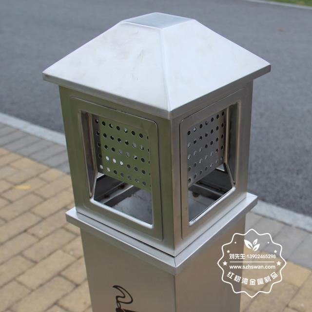 户外方形不锈钢吸烟柱图片006