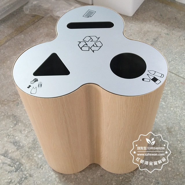 新款三分类不锈钢室内垃圾桶图片001