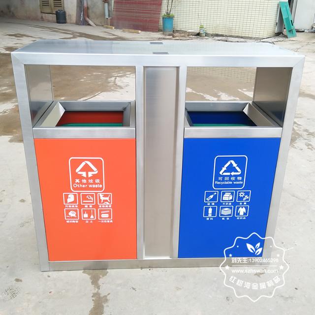 城市街道不锈钢分类垃圾桶图片1