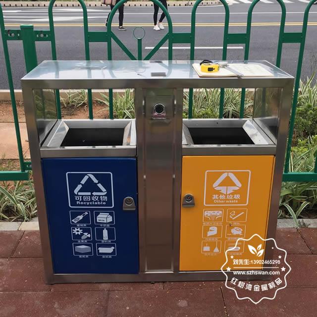 城市街道不锈钢分类垃圾桶图片5