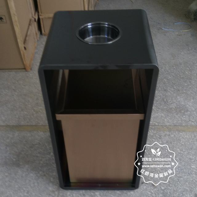 室内电梯口方形钢制果皮箱图片02