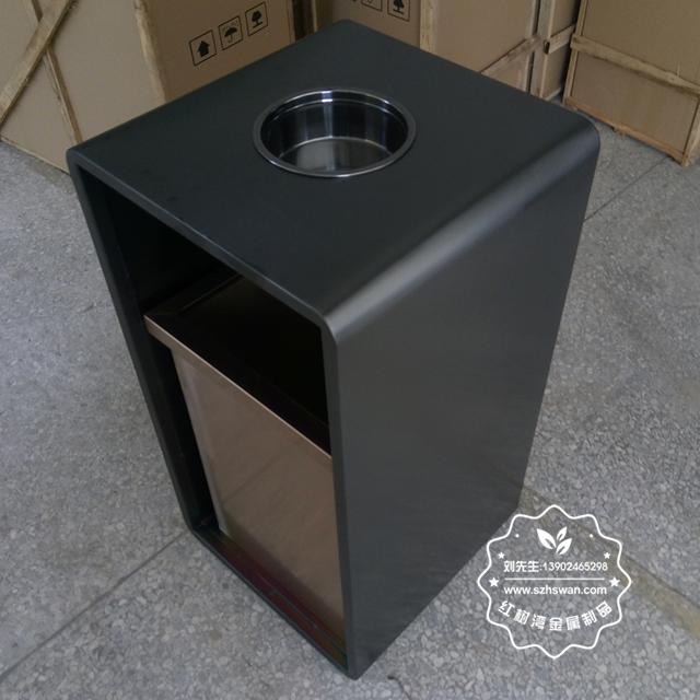 室内电梯口方形钢制果皮箱图片03