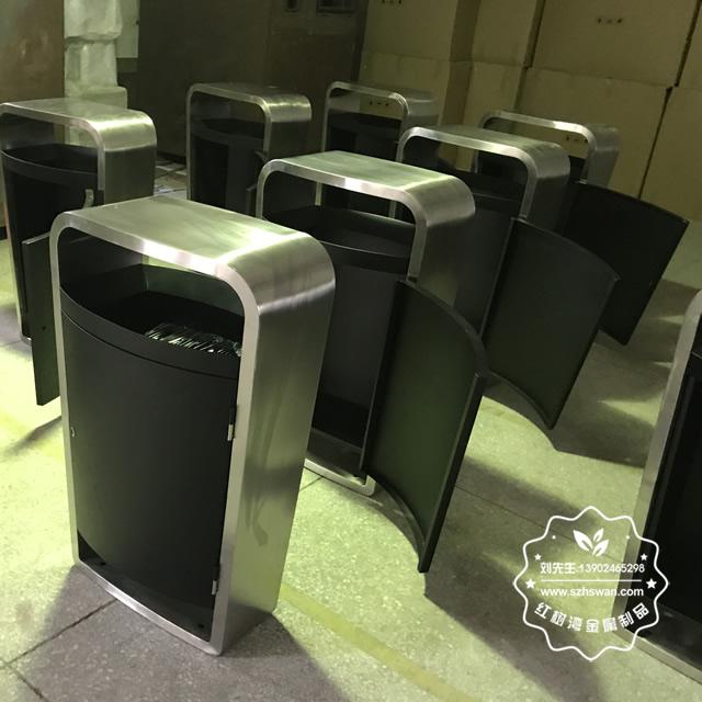 户外市政道路不锈钢垃圾桶图片02