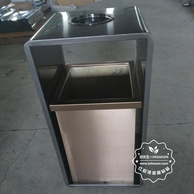 室内电梯口方形钢制果皮箱图片04