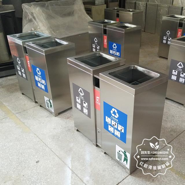 室内304不锈钢两分类垃圾桶图片03