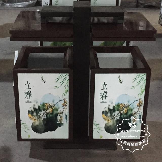 公园户外钢制二分类垃圾箱图片03