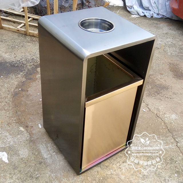 室内电梯口方形钢制果皮箱图片01