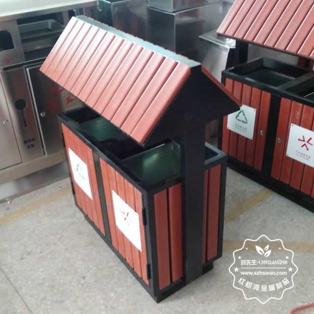 公园钢制防腐木分类垃圾箱