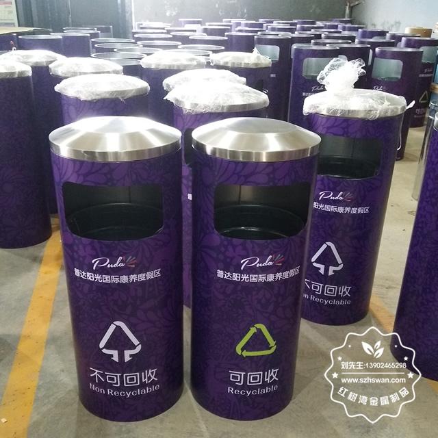 圆柱形不锈钢垃圾桶图片