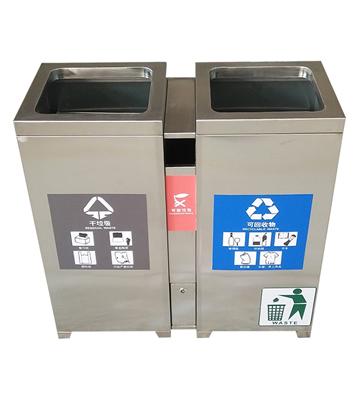 室内304不锈钢两分类垃圾桶主图