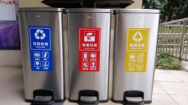 脚踏式三分类不锈钢垃圾桶