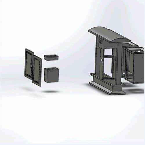 户外分类不锈钢垃圾桶结构图4