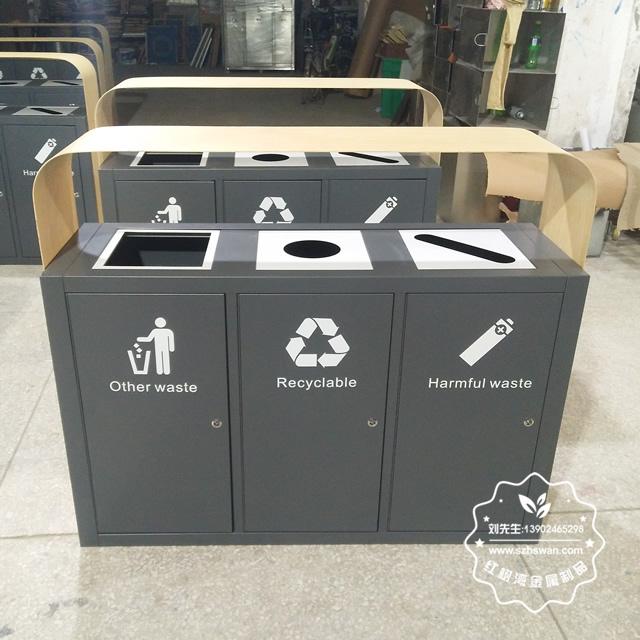 仿木纹不锈钢分类垃圾桶1