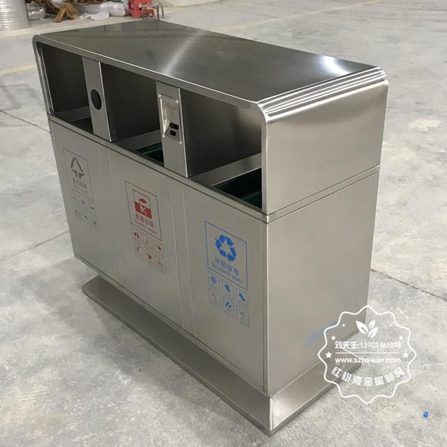 小区户外方形三分类不锈钢垃圾箱图片02